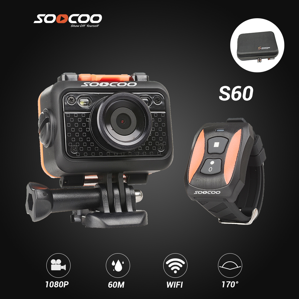 SOOCOO S60 Sport Action Camera Anti-Shock 60M Waterproof Wifi 1080P FullHD 70Degree Lens Wireless Remote Control