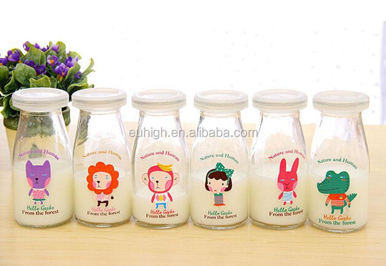 200ml Baby Glass Milk Bottle With Lid Glass Bottle For