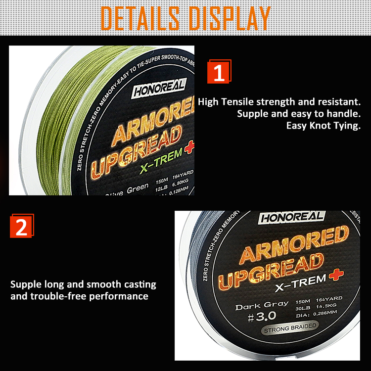 30lb 150m High Strength PE 4 Strands Braided Fishing Line