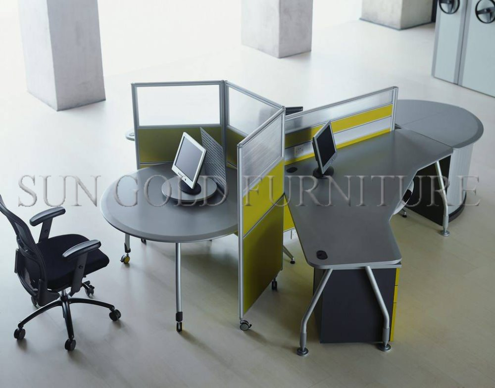 Modern Round Circle Workstation 3 Person Office Cubicle Sz Ws330