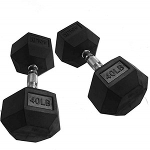Professional Gym Fitness Hex Rubber Coated Dumbbell with Metal Handles