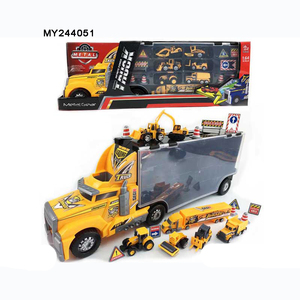 Wholesale Free Wheel Car Diecast Model big Truck trailer and small car For Kid