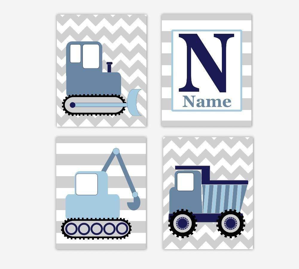 construction truck wall art print for transportation baby boy nursery decor art
