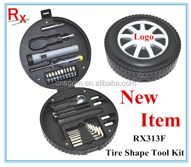 RX313F 29pcs Car promotion Tire Shape Emergency Creative Gift Hand Tools Kit