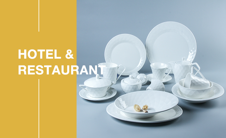 YX Square Series Luxury royal hotel wedding banquet tableware white ceramic dinner set
