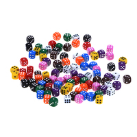 Custom 100 Assorted Dice 10 Colors 16 MM Dice With DLS Storage Bag