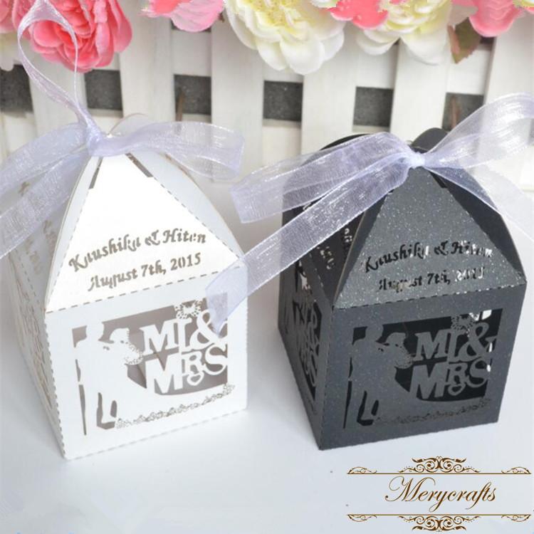 mr mrs unique design laser cut customized wedding favor gift boxes