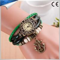 2016 New Anchor Pendants Watch Fashion Vintage Bracelet Cow Leather Watch Ladies Quartz Wrist Watches for Women VW025