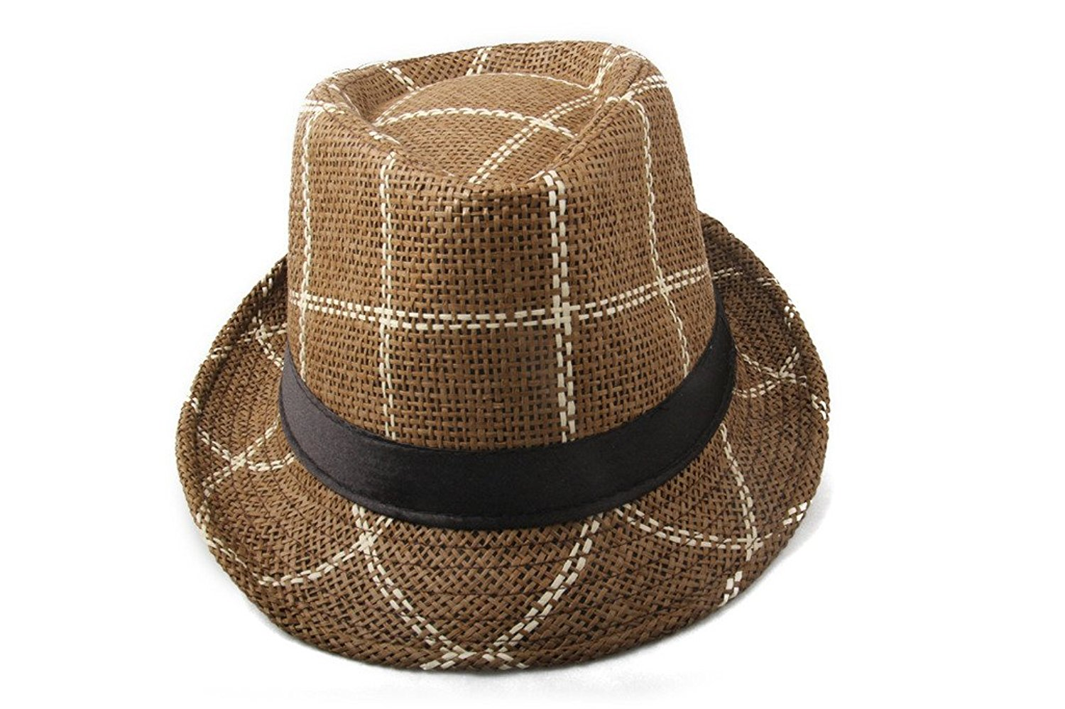 Get Quotations · Dantiya Men s Plaid Straw Beach Sun Fedora Panama hats  Light Coffee f72a78a89113