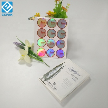 Waterdichte glossy sliver laser hologram sticker label in sheet voor boek/tas/jar