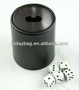 leather dice cup with bottle opener