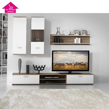 Modern Ruang Tamu Kayu Desain Kabinet Tv Unit Dinding