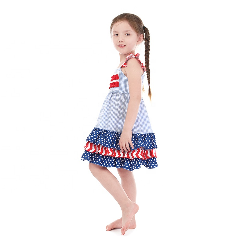 Top sell kids july 4th red polka dot red stripe cotton dress wholesale seersucker dress
