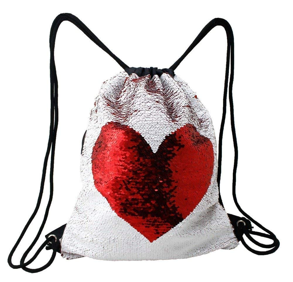 Mermaid Sequin Drawstring Backpack Glittering Outdoor Shoulder Bag,Magic Reversible Glitter Sports Backpack Bag Dance School Bag for Girls Women Kids