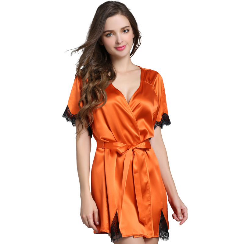 d77b6ddd6c 100% Silk Nightgowns Women Sexy Lace Summer Sleepwear Smoothly Female Silk  Pajamas Nightwear