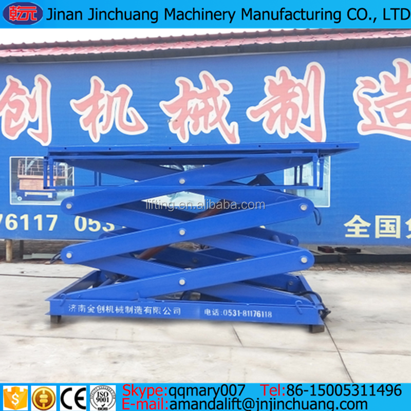 china supplier warehouse guide rail lift/ hydraulic vertical cargo lift