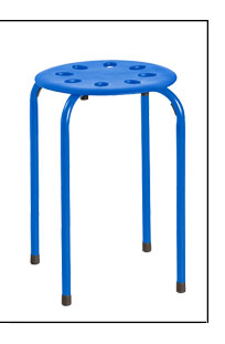 Stackable Plastic Stool With Metal Legs