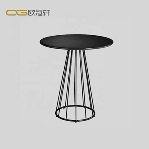 2019 European Style Restaurant Marble Cafe Table Top Stainless Steel Base Round Dining Table