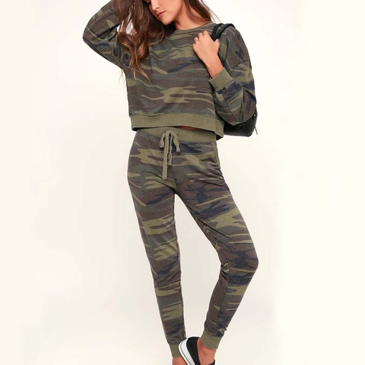 Initiative Womens Ladies Army Camo Knitted Knee Cut Loungewear Set Tracksuit Leggings Top Women's Clothing Tracksuits & Sets
