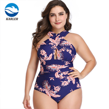Sommer Floral Print <span class=keywords><strong>Frauen</strong></span> Badeanzug <span class=keywords><strong>Plus</strong></span> Größe Ein Stück Bikini Bademode