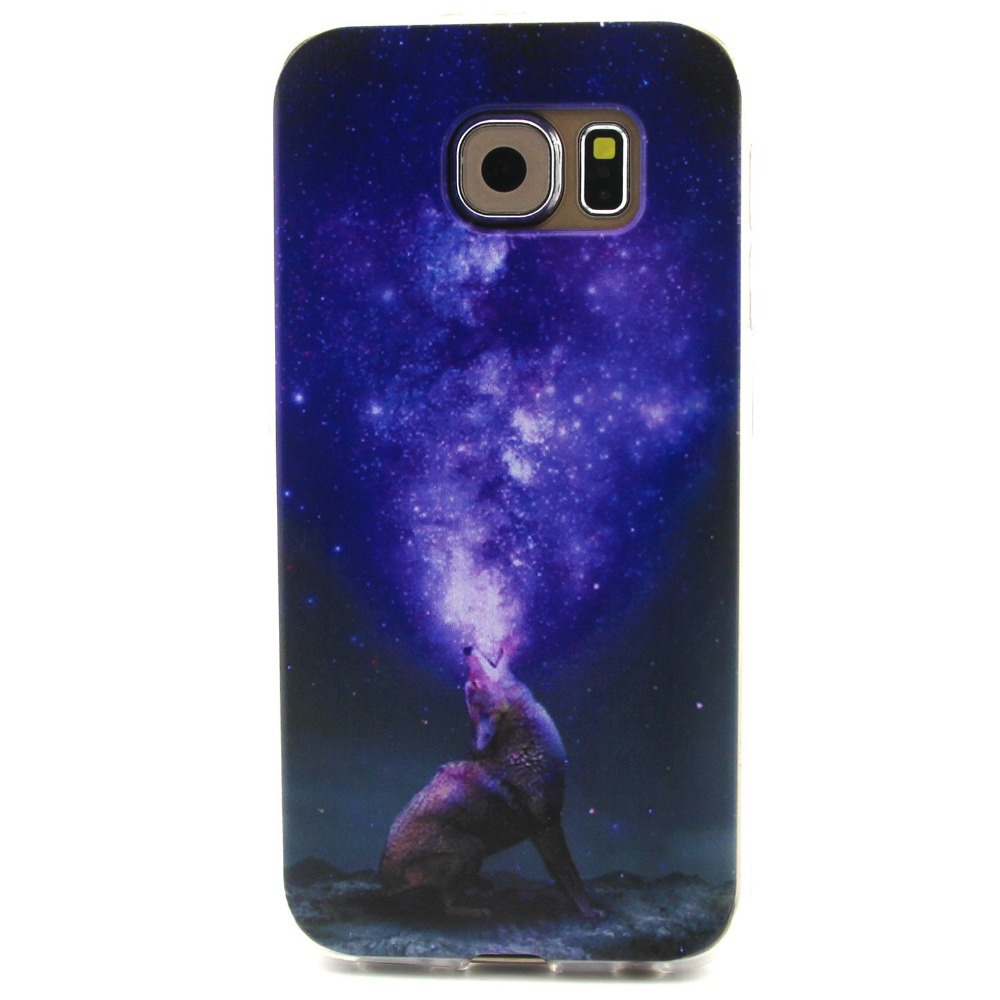 ZeWoo TPU Case - T046 / Wolf and purple sky - for Samsung Galaxy S6 Silicone Cover