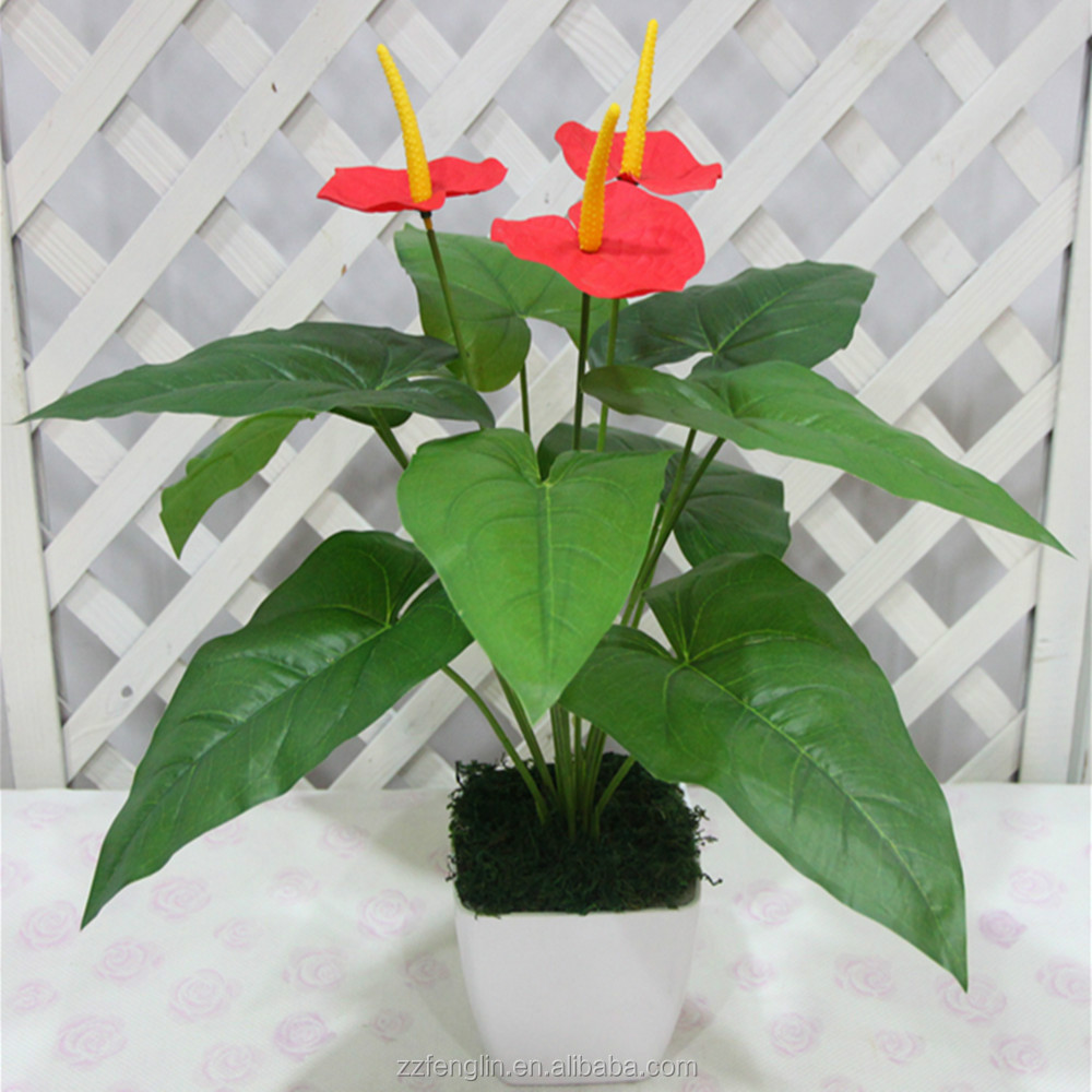 50 CM Tall Popular Artificial Flower Anthurium Plant Artificial Plant Wholesale