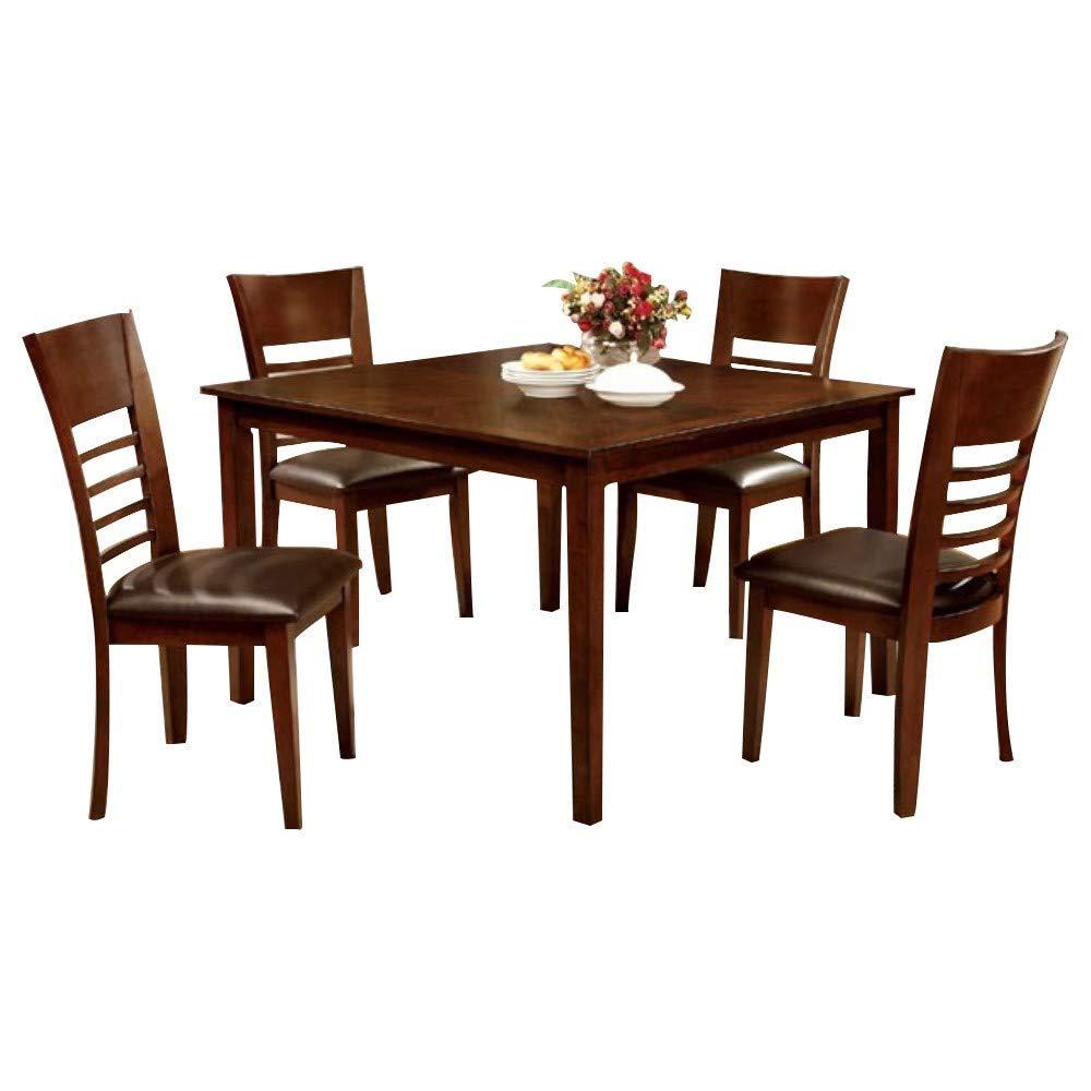 Benzara BM166204 Wooden Dining Table Set, Brown