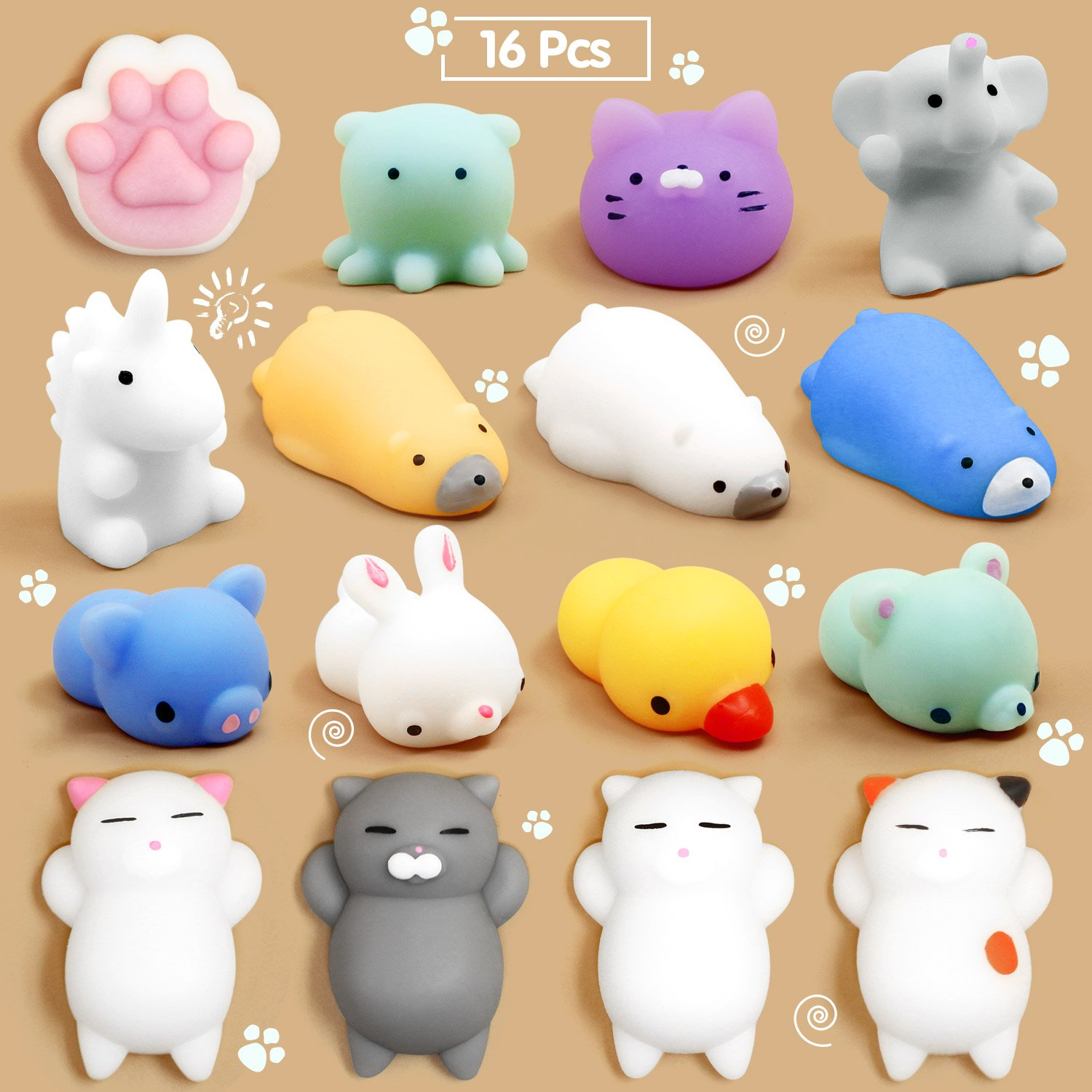 Mochi Squishy, Calans 16 Pcs Mochi Animals Stress Toys Mochi Squishy Toy Soft Squishy Stress Relief Animal Toys Mochi Squeeze Toys Mini Cat Squishies, Random Color