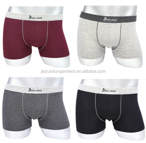 OEM Design Your Own Brand Logo On Center of Elastic Waistband Plain Color New Simple Cheap Style Soft Modal Sport Men Underwear