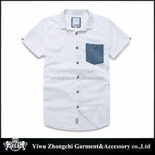 Japanese male color matching short-sleeved shirt