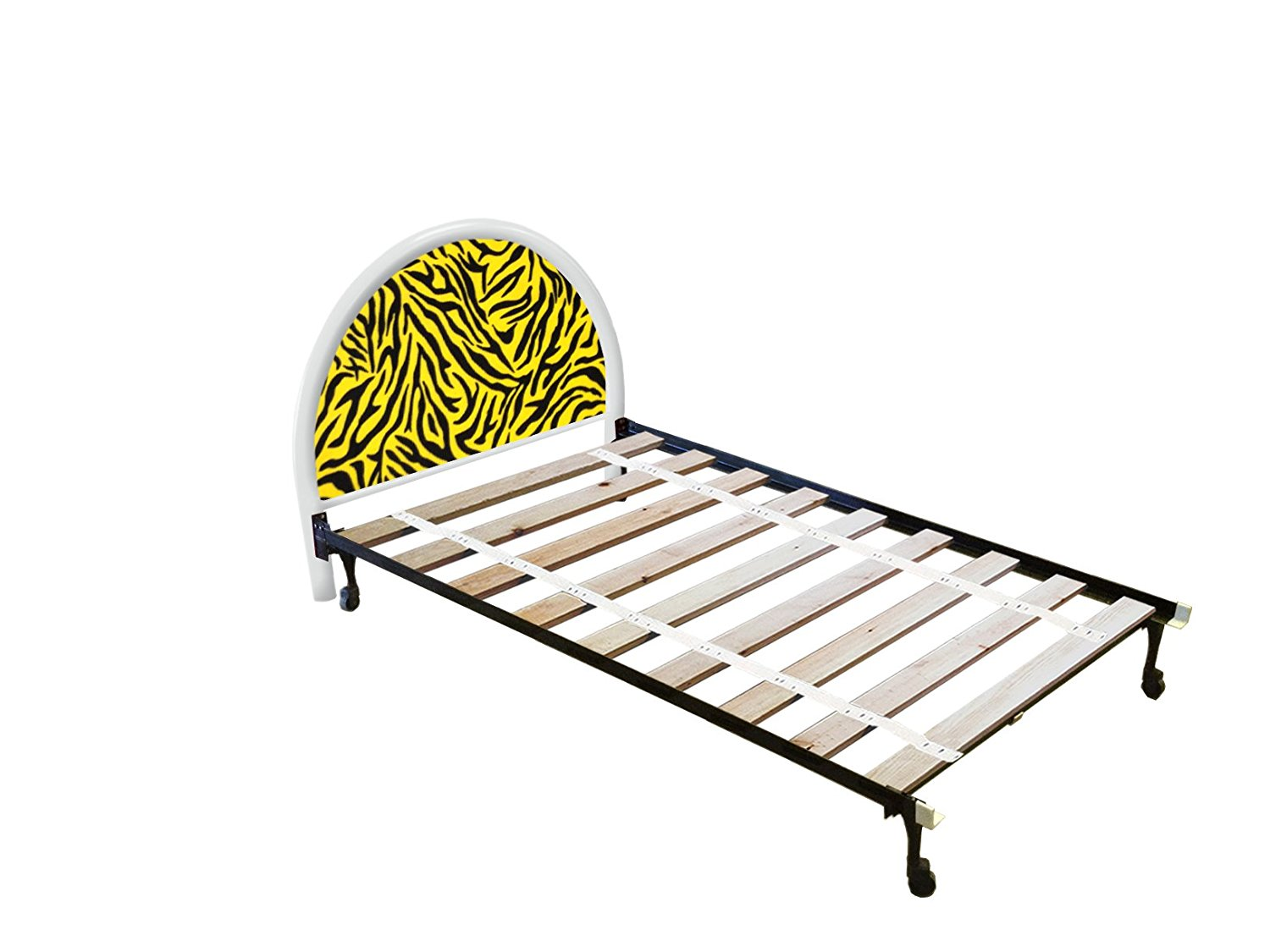 The Furniture Cove New Twin Size Custom Yellow Zebra Print Themed Bed Set! Includes Head Board, Bed Frame and Bed Slats!