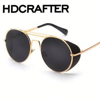 Designer de óculos de sol do Steampunk do vintage Lado Viseira Lente  Círculo Rodada óculos de fefd013ba43