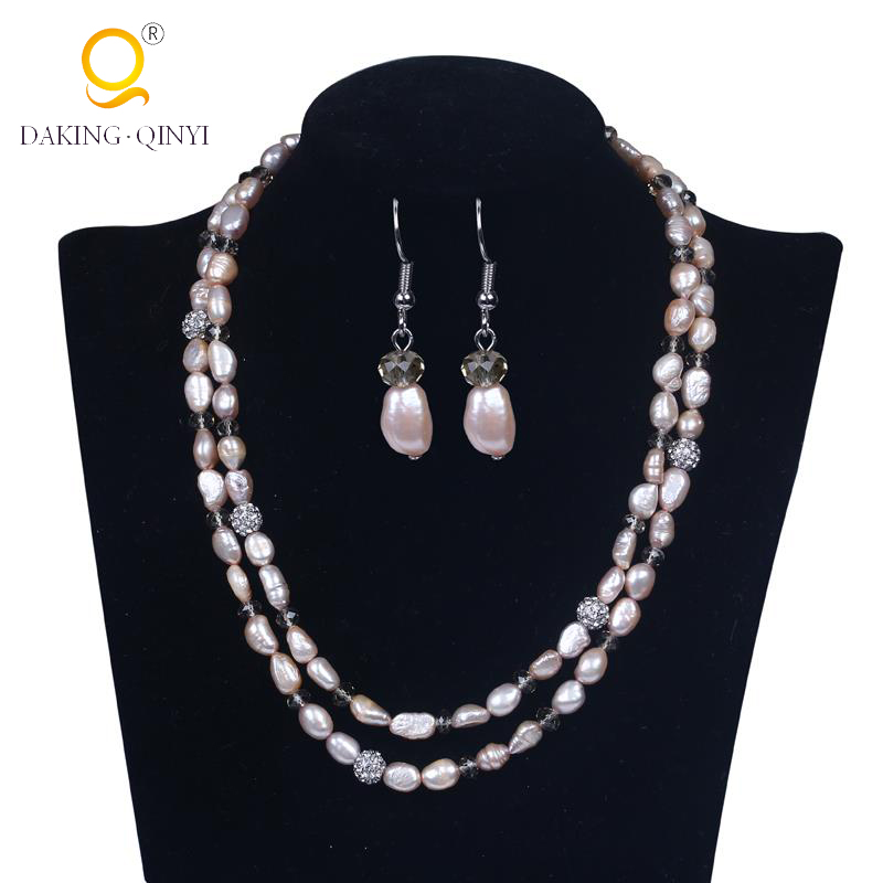 Wedding pearl jewelry hot selling jewelry set pearl necklace with earring for bride
