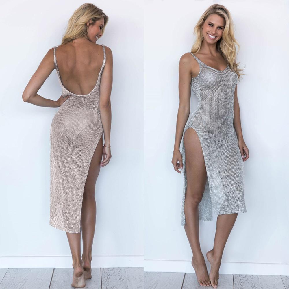 964aaf51d5 Women Bikini Cover Up Semi-sheer Knitted Glitter Sleeveless Plunging  Backless Side Split Beach Dress Swimwear Grey/pink - Buy Women Bikini Cover  Up ...