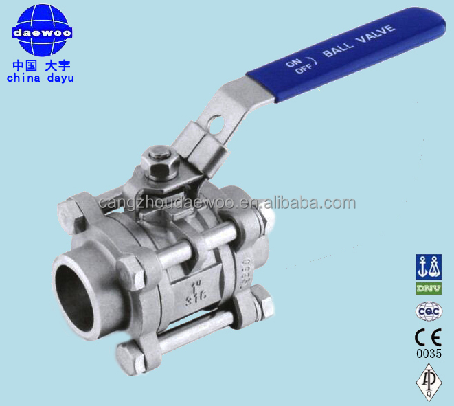 economical type 3PC SS304 316 butt weld ball valve with handle from cangzhou hebei china
