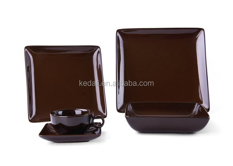 Square ceramic coffee cup dinner plate sets