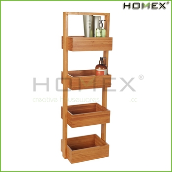 4 Tier Bamboo Caddy Stand Shower Homex Bsci Factory