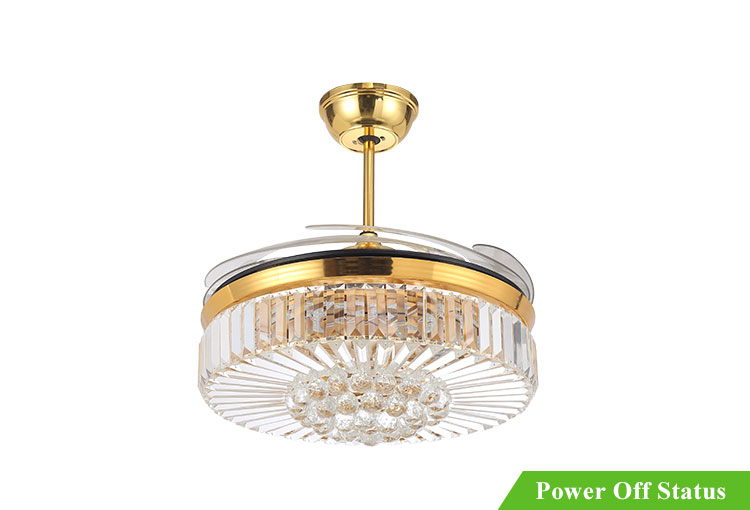 Wholesale luxury ceiling fan with light plastic blades rectangular crystal chandelier
