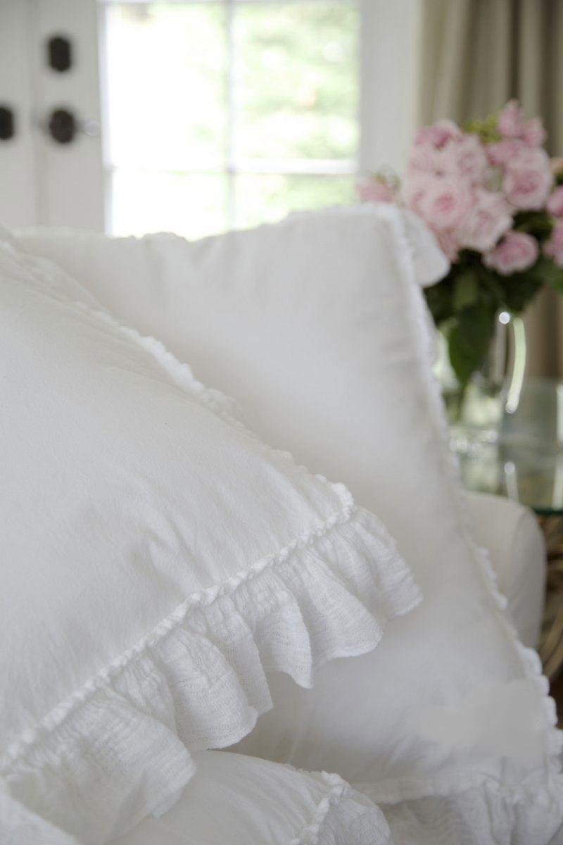 Piubelle Ruffled King Duvet Comforter Quilt Cover 3pc Set 100% Cotton Shabby Chic Piu belle French Style Frilled Duvet Cover White (King)