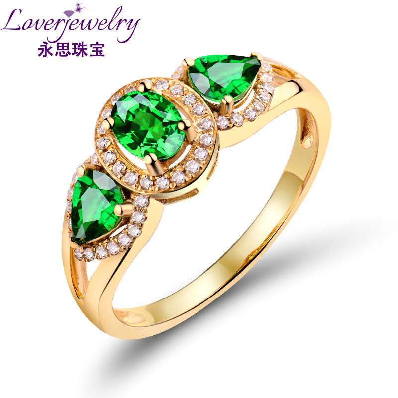 Natural Green Stone Jewelry Three Stones 14kt Yellow Gold Natural Tsavorite Ring Engagement Rings Factory Sales WU144