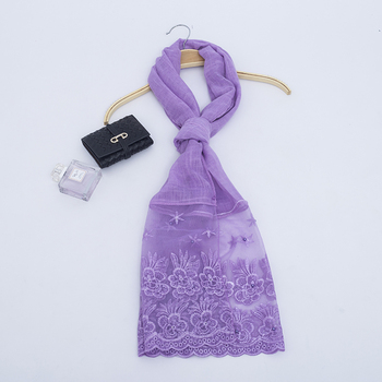 HOT sale pure cotton scarf hijab with lace nail colorful beads shawls wraps to easy wear for women headscarf hijabs