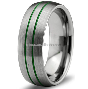 Tungsten Wedding Band RingMen Women Green Silver Domed Brushed