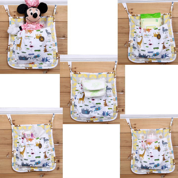 Inventory Factory Cotton Fabric Bedside Diaper Storage Stroller Organizer Bag For Carry Bottle Diaper Toys
