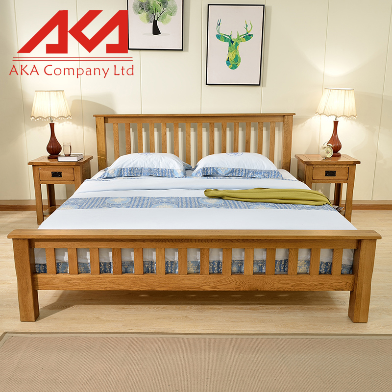 New fashion solid wood double bed design furniture for European