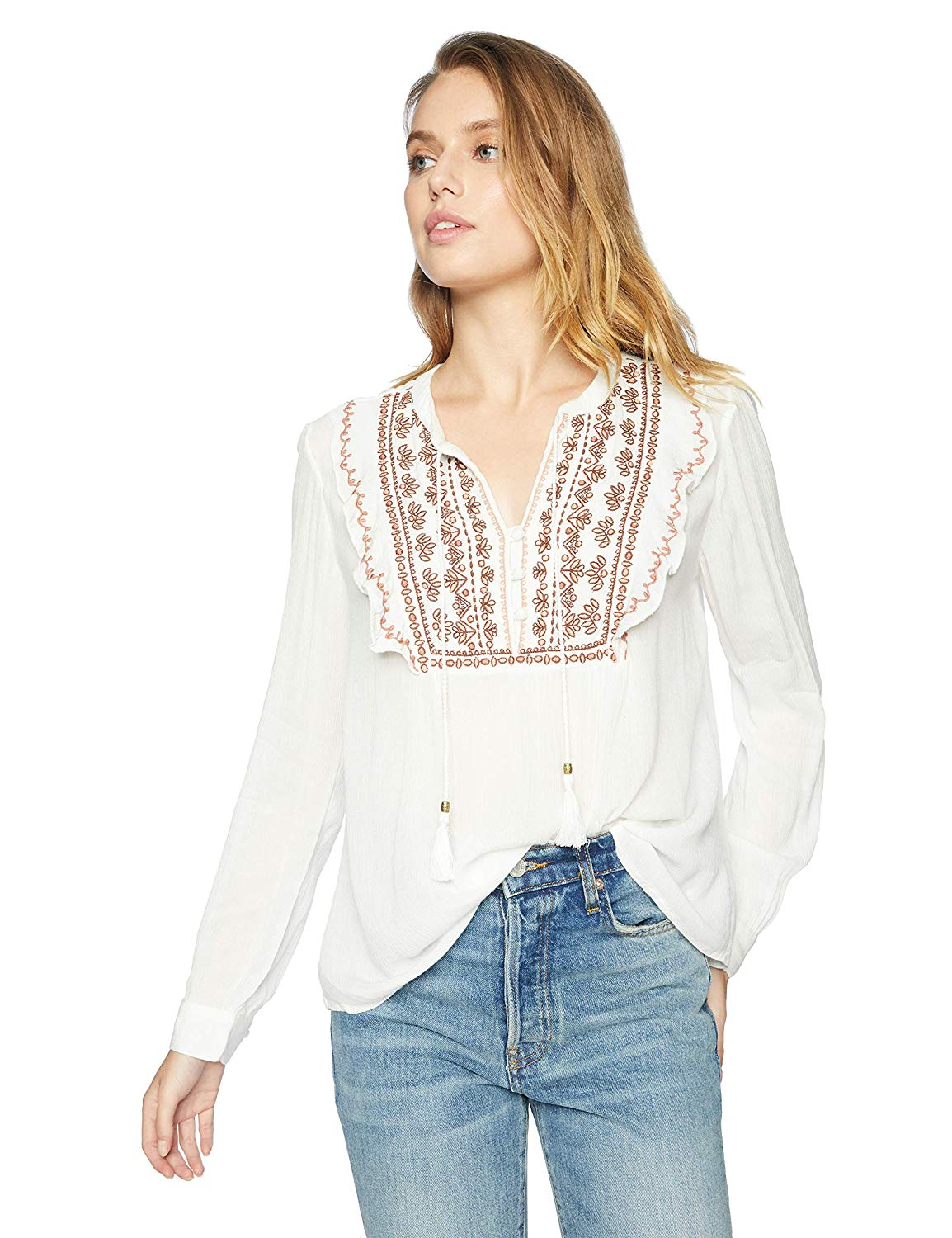 e234c69b061 Get Quotations · Vintage America Blues Women s Juliana Flowy Embroidered  Peasant Top