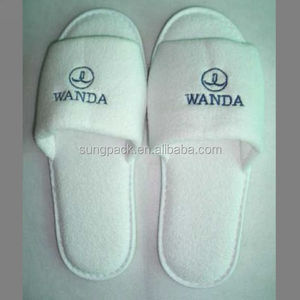 Custom Cotton Fabric House SPA Waffle Washable Slippers For Hotel Amenities