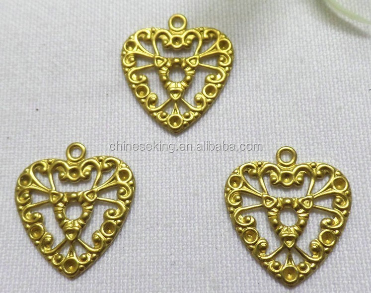 DIY hollow heart charm jewelry accessories brass heart charm shoe bag hair accessories