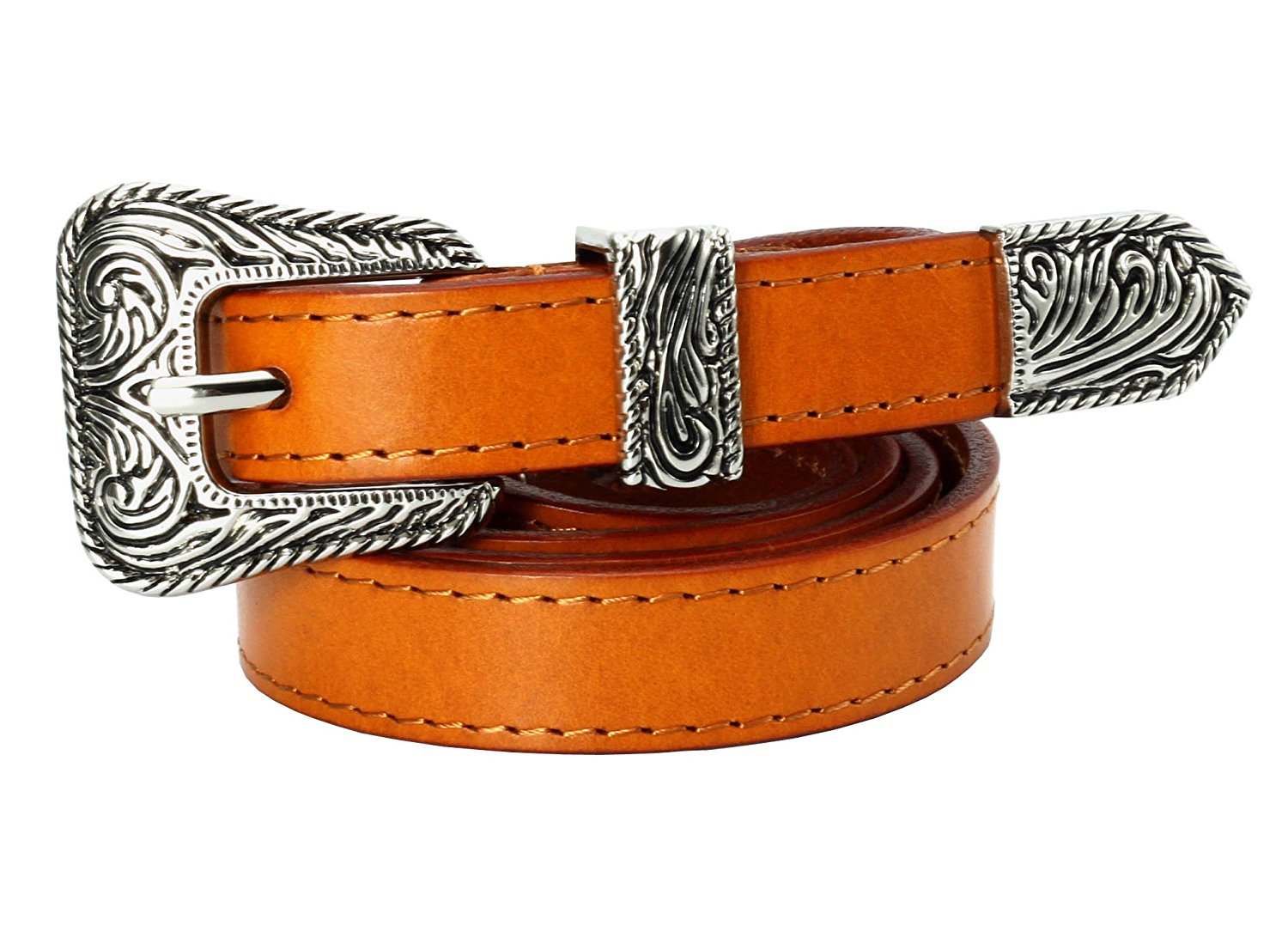 Aecibzo Mens Genuine Cowhide Leather Ratchet Dress Belt with Automatic Buckle