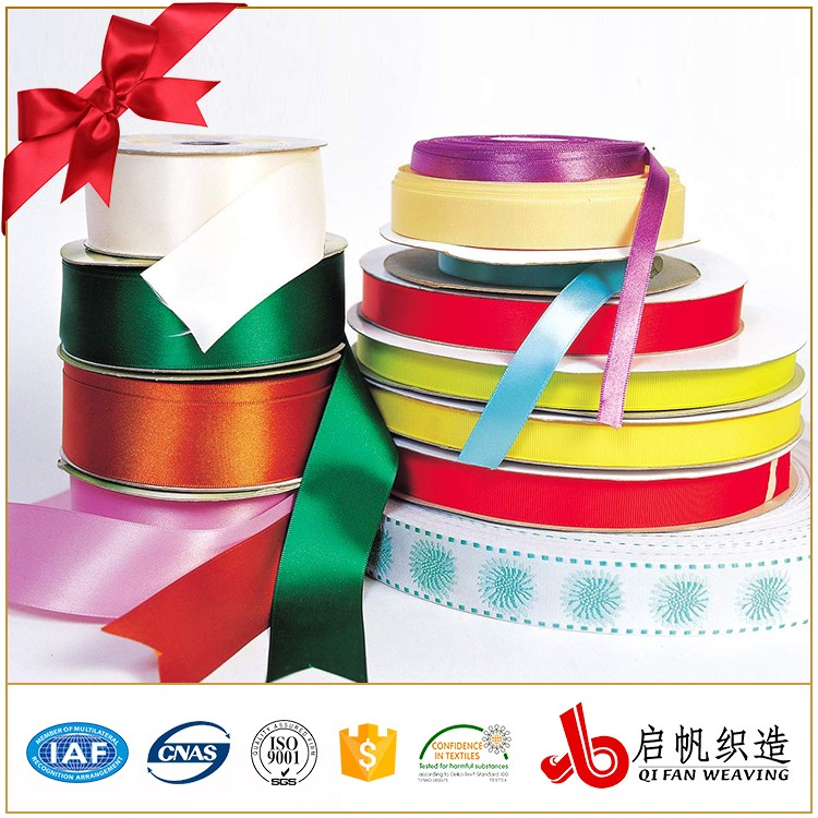 Colorful Custom logo size polyester printed satin ribbon