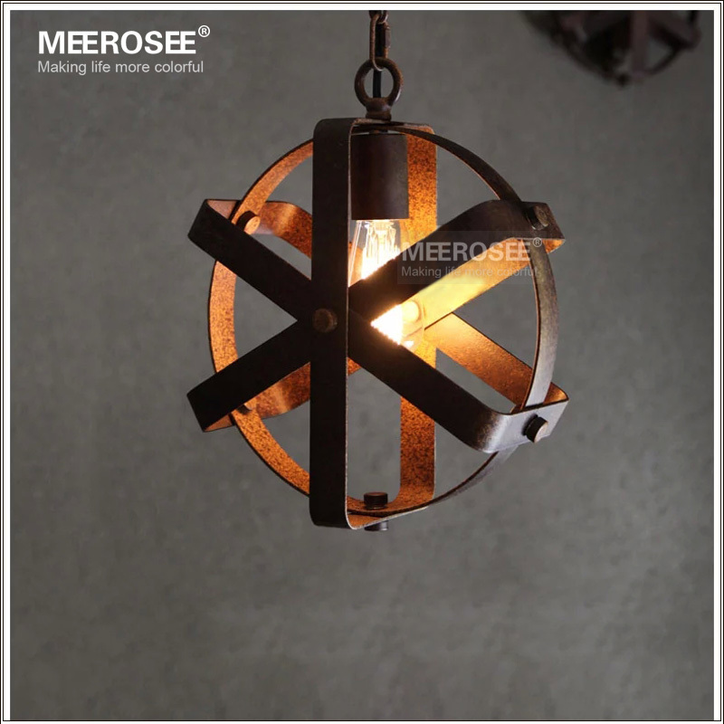 Vintage industry wrought iron light loft style creative pendant with Edison bulb MD2864